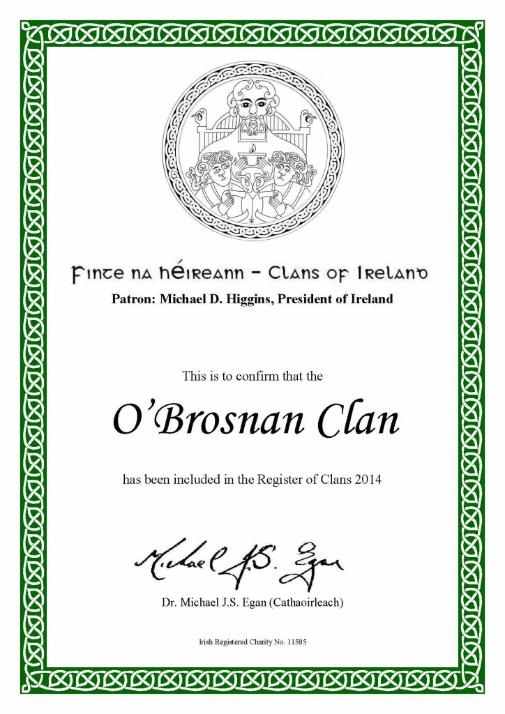 O'Brosnan Clan Certificate of Membership of the Register of Clans